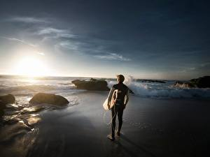 Images Stones Sunrises and sunsets Men Surfing Beach Sport