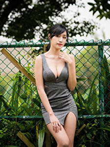 Fotos Asiaten Brünette Kleid Hand Dekolleté Starren junge frau