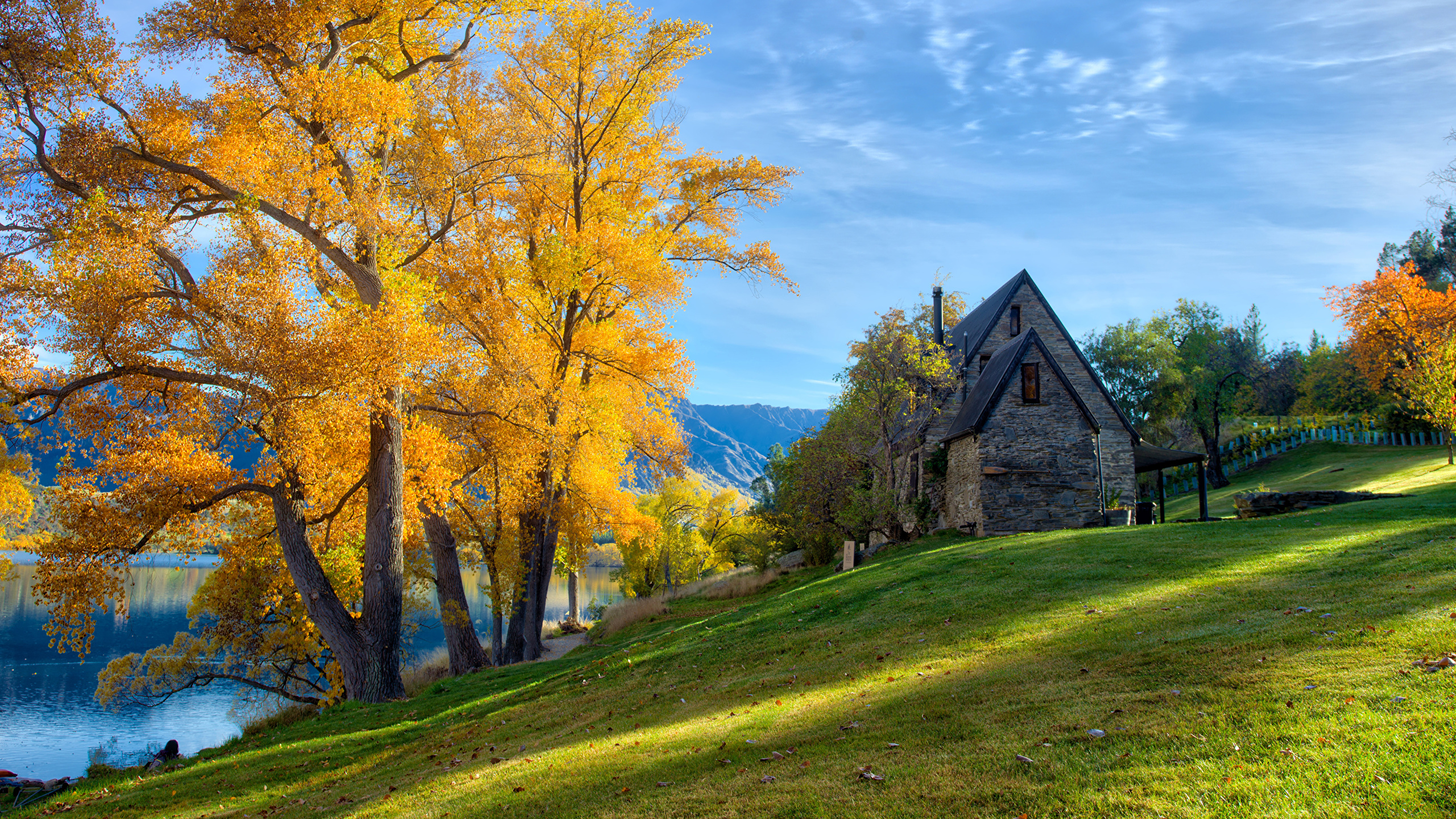 Picture New Zealand Queenstown Hdr Nature Autumn Grass 2560x1440