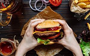 Bilder Hamburger Großansicht Fast food Hand