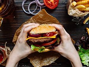 Bilder Hamburger Großansicht Fast food Hand das Essen