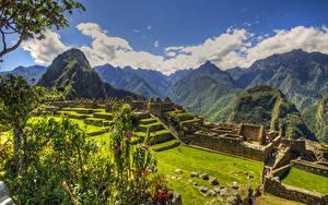 デスクトップの壁紙、、ペルー、廃墟、公園、山、ハイダイナミックレンジ合成、コケ、芝、Plaza central Machu Picchu、自然