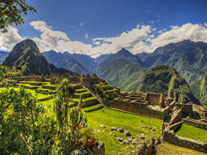 Desktop hintergrundbilder Peru Ruinen Park Gebirge HDR Laubmoose Rasen Plaza central Machu Picchu Natur