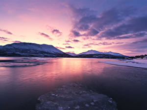 Hintergrundbilder Norwegen Lofoten Winter Gebirge Sonnenaufgänge und Sonnenuntergänge Bucht Natur