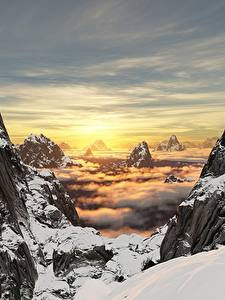 Bilder Sonnenaufgänge und Sonnenuntergänge Gebirge Landschaftsfotografie Felsen Schnee 3D-Grafik