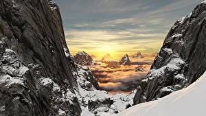 Bilder Sonnenaufgänge und Sonnenuntergänge Gebirge Landschaftsfotografie Felsen Schnee Natur 3D-Grafik