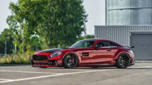 Bilder Mercedes-Benz Rot Seitlich Metallisch AMG GT automobil