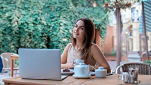 Hintergrundbilder Braunhaarige Starren Notebook Frühstück Mädchens
