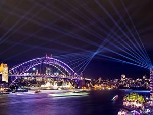 Fotos Australien Brücken Sydney Nacht Lichtstrahl Städte