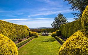 Hintergrundbilder England Garten Springbrunnen Design Strauch Rasen Ascott House Gardens Buckinghamshire Natur