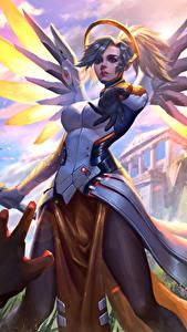 Hintergrundbilder Overwatch Engeln Mercy Spiele Mädchens Fantasy