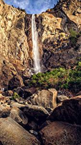 Hintergrundbilder USA Park Wasserfall Steine Kalifornien Yosemite Felsen Natur