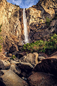 Hintergrundbilder USA Park Wasserfall Steine Kalifornien Yosemite Felsen