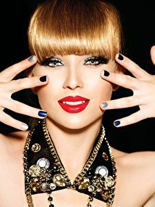 Wallpaper Fingers Jewelry Lips Redhead girl Hands Manicure Glance Red lips Black background Girls