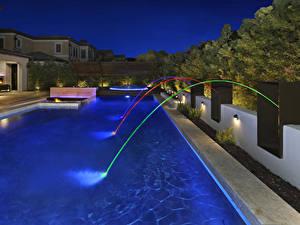 Fotos USA Gebäude Villa Abend Kalifornien Schwimmbecken Design Irvine Städte
