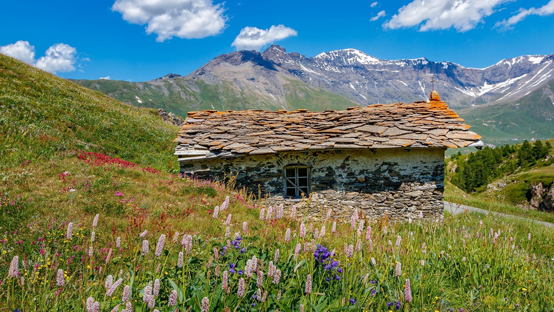 Fonds D Ecran 1920x1080 Montagnes France Maison Mont Cenis Savoie Alpes Herbe Fait De Pierre Nature Telecharger Photo