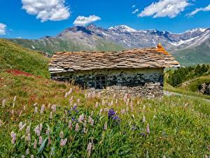 Fotos Berg Frankreich Gebäude Alpen Gras Steinernen Mont-Cenis, Savoie Natur