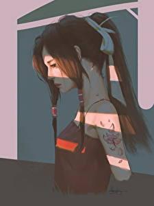 Fotos Gezeichnet Braunhaarige Tätowierung junge Frauen