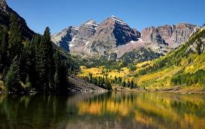 Bilder USA Berg See Herbst Landschaftsfotografie Felsen Maroon lake, Rocky Mountains, Colorado