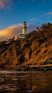 Hintergrundbilder Küste Leuchtturm Sonnenaufgänge und Sonnenuntergänge USA Hawaii Felsen Natur