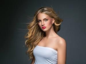 Fotos Grauer Hintergrund Blond Mädchen Haar Starren junge Frauen