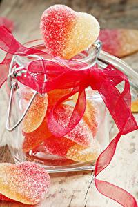Fotos Süßigkeiten Marmelade Weckglas Band Herz Lebensmittel