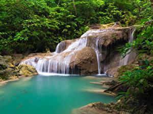 Wallpapers Thailand Tropics Parks Waterfalls Trees Cliff Nature