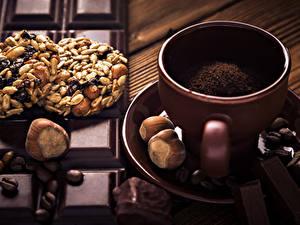 Bilder Kaffee Kekse Nussfrüchte Schokolade Tasse Getreide