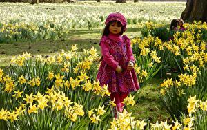 Bilder Deutschland Park Narzissen Kleine Mädchen Puppe Kleid Grugapark Essen Natur