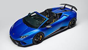 Fotos Lamborghini Grauer Hintergrund Blau Roadster 2018 Huracan Perfomante Spyder Worldwide