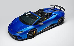 Fotos Lamborghini Grauer Hintergrund Blau Roadster 2018 Huracan Perfomante Spyder Worldwide Autos