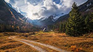 Fotos Slowenien Gebirge Wälder Haus Landschaftsfotografie Fichten Lichtstrahl Zadnja Trenta Natur