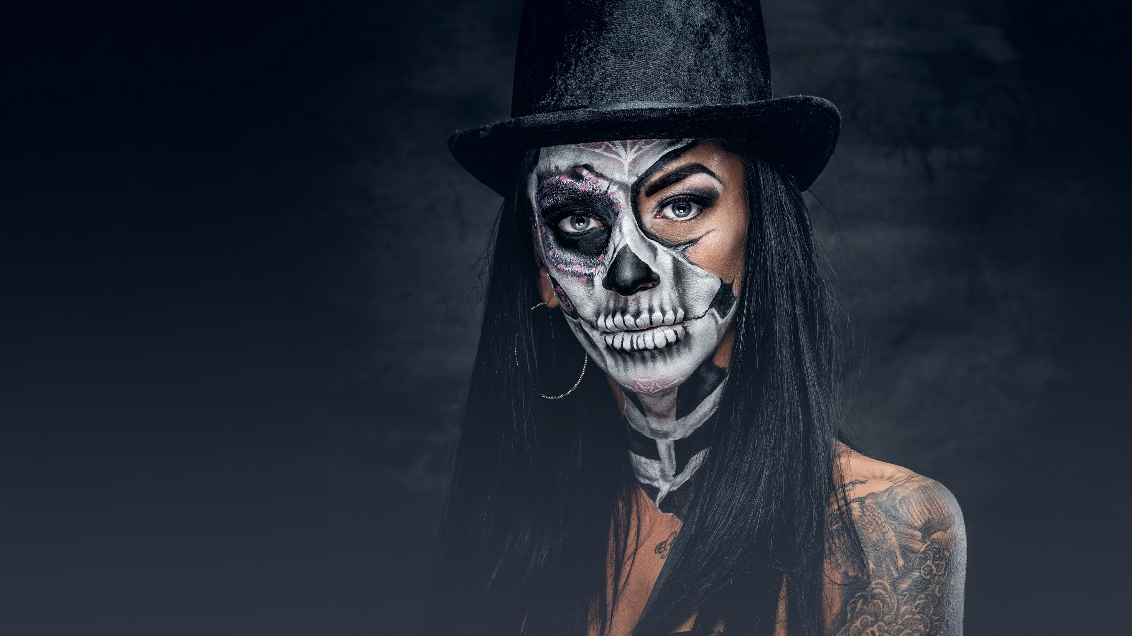 Images Brunette Girl Makeup Day Of The Dead Hat Girls 3840x2160