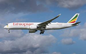 Fotos Airbus Flugzeuge Verkehrsflugzeug Seitlich Ethiopian Airlines, A350-900 Luftfahrt
