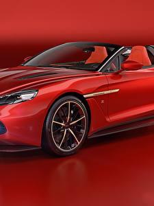 Fotos Aston Martin Rot Metallisch Cabriolet Roter Hintergrund 2018 Vanquish Zagato Speedster Zagato Autos