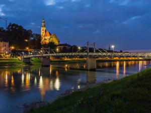 Bilder Österreich Salzburg Gebäude Flusse Brücke Abend Städte
