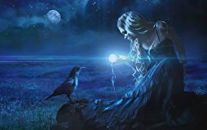 Hintergrundbilder Magie Aaskrähe Nacht Blondine Mond Kleid Fantasy