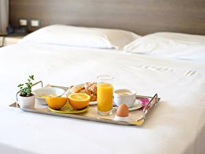 Fotos Saft Apfelsine Frühstück Trinkglas Tasse Ei Bett