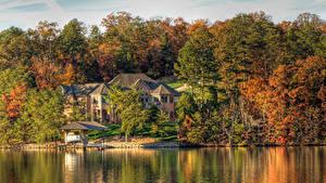 Hintergrundbilder USA See Gebäude Herbst HDRI Bäume Tellico Lake Tennessee Natur