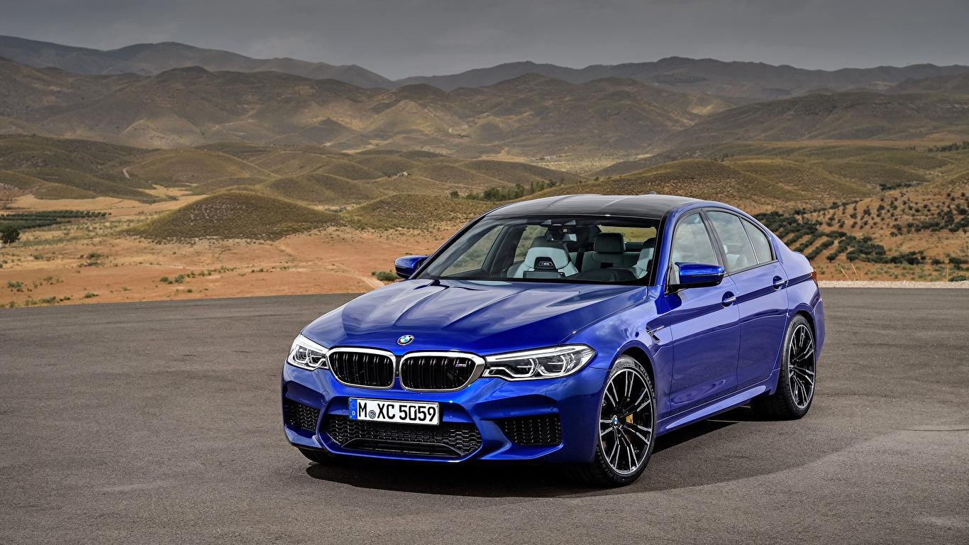 Fotos von BMW M5 2017 M5 F90 Blau Autos 1366x768 auto automobil