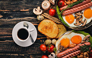 Images Coffee Bread Vienna sausage Mushrooms Tomatoes Breakfast Cup Eggs Fried egg