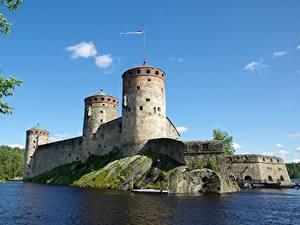 Hintergrundbilder Finnland See Festung Turm Savonlinna, South Savo, Olavinlinna Fortress (Olafsborg) Städte