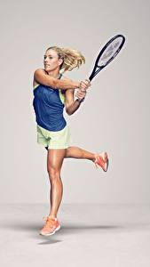 Wallpaper Tennis Running Gray background Legs German WTA Angelique Kerber Sport Girls