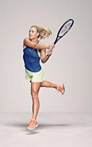 Fotos Tennis Laufsport Grauer Hintergrund Bein German WTA Angelique Kerber Sport Mädchens