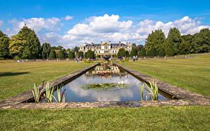 Fotos Vereinigtes Königreich Park Springbrunnen Teich Rasen Strauch Dyffryn Gardens Natur