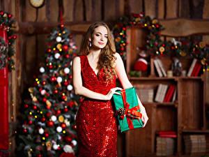Image Christmas Brown haired Dress Present Girls