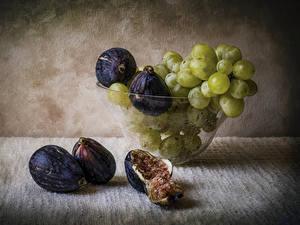 Fotos Obst Weintraube Echte Feige Stillleben Bretter Lebensmittel