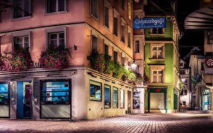 Wallpapers Switzerland Building Street Street lights Night time HDR St.Gallen Cities
