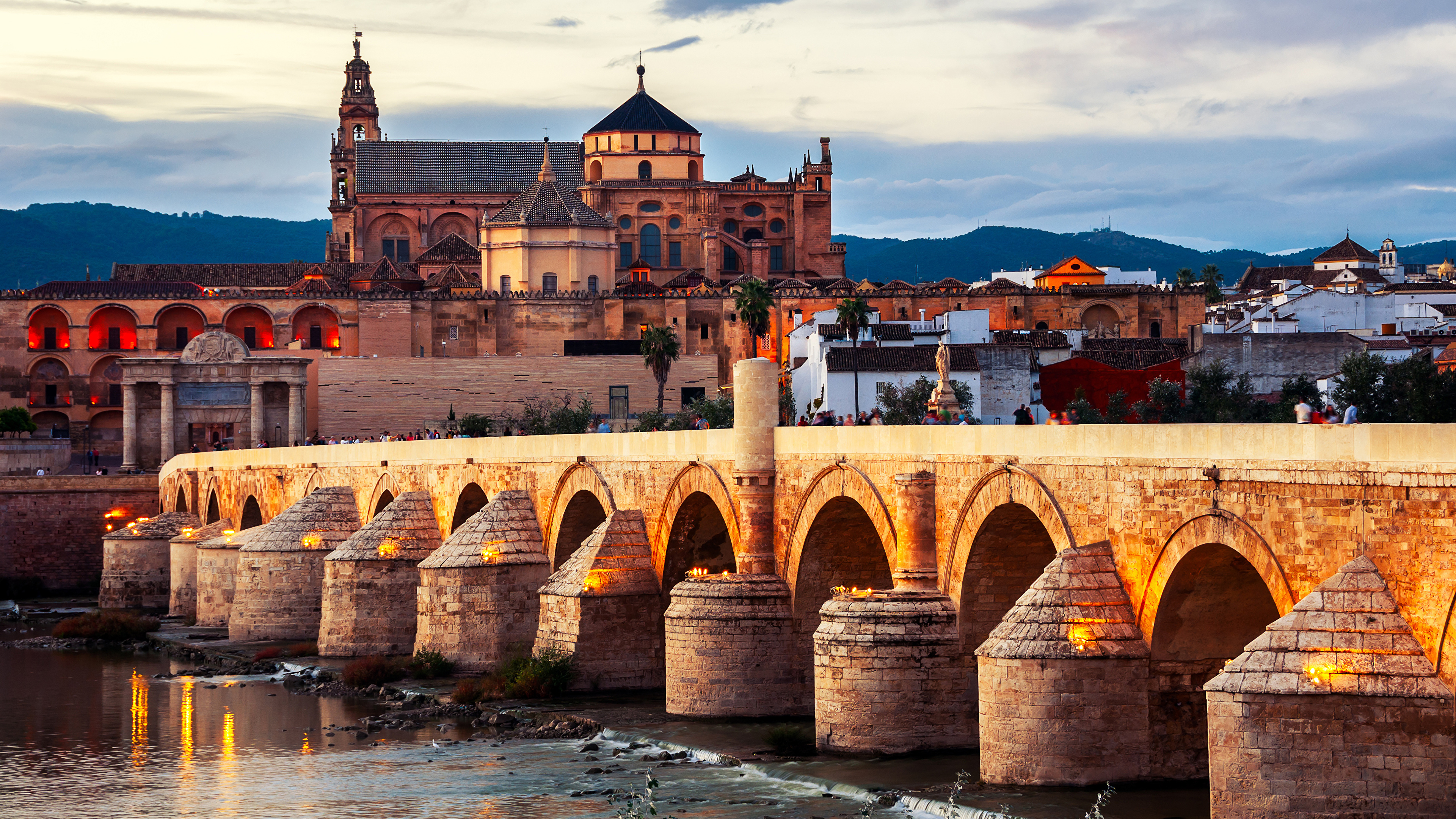 Desktop Wallpapers Spain Roman bridge Cordoba river Cities 3840x2160