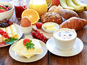 Bilder Kaffee Käse Croissant Brötchen Obst Frühstück Ei Tasse